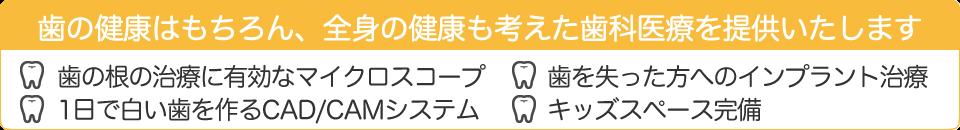 歯の健康はもちろん、全身の健康も考えた 歯科医療を提供いたします   ✓ 歯の根の治療に有効なマイクロスコープ ✓ 1日で白い歯を作るCAD/CAMシステム ✓ 歯を失った方へのインプラント治療 ✓ キッズスペース完備